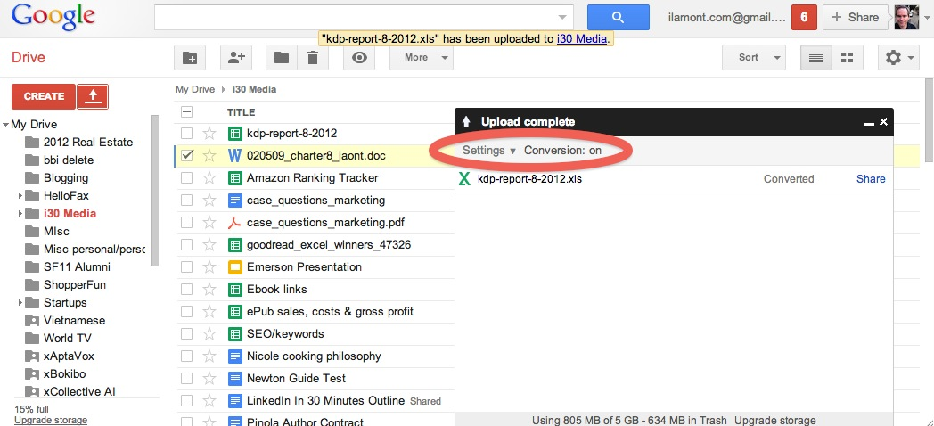 Google Drive automatic conversion