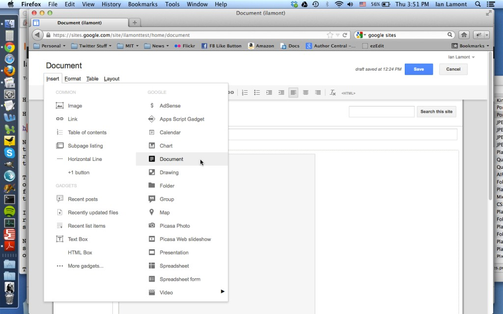 Google Sites import Google Drive