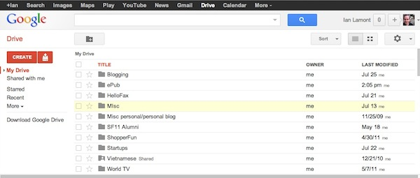 Google Drive's Homescreen