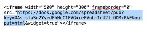 iFrame Google Sheets URL